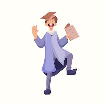 Diplômé dans le manteau. illustration vectorielle dans un style plat