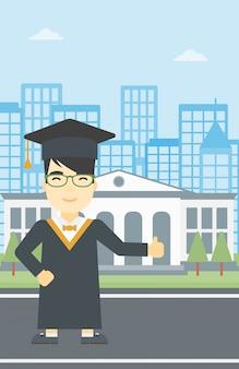 Diplômé donnant le pouce en haut illustration vectorielle.