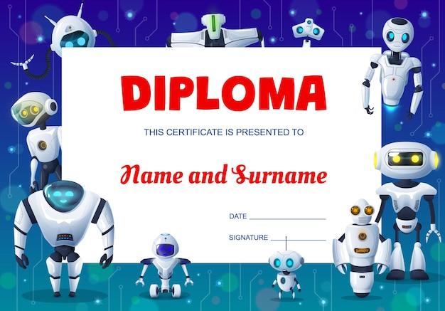 Diplôme d'éducation des enfants avec cadre de fond de robots de dessin animé, de cyborgs et de droïdes. certificat, récompense ou cadeau d'honneur de l'obtention du diplôme d'étudiant avec bordure de robots modernes et de bots android