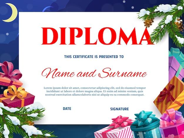 Diplôme d'enfants ou modèle de certificat de noël avec des cadeaux. emballé dans du papier coloré, ruban décoré présente des boîtes, dessin animé de neige couvert de branche d'arbre de noël. diplôme d'école ou de maternelle