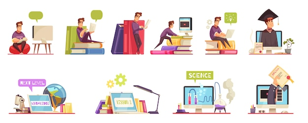 Diplôme d'études collégiales en ligne avec diplôme diplôme 12 compositions de dessin animé ensemble horizontal isolé