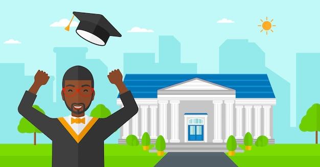 Diplômé levant son chapeau