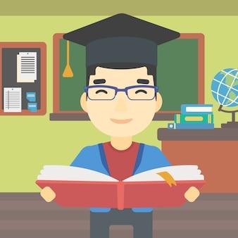 Diplômé avec livre en illustration vectorielle de mains.