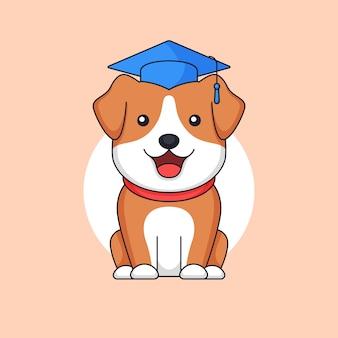 Diplômé mignon chien debout porter toge chapeau animal école contour illustration mascotte