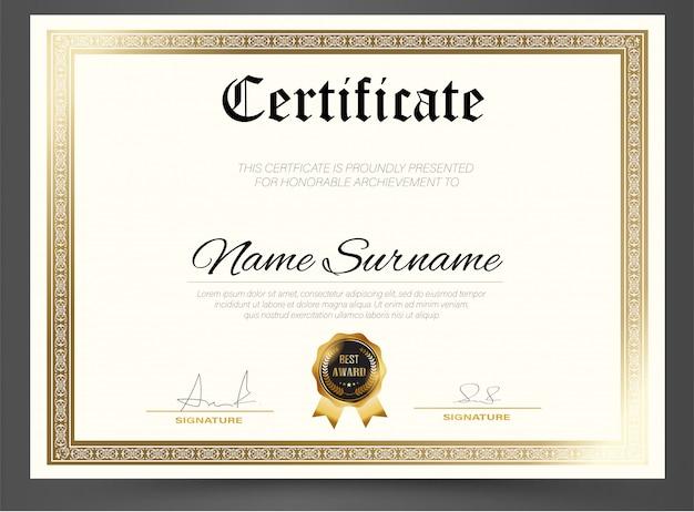 Diplôme de modèle de certificat d'éducation, vecteur de luxe moderne, cadeau de fond de récompense