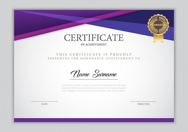 Diplôme de modèle de certificat, illustration vectorielle
