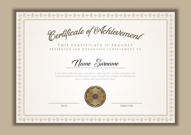 Diplôme de modèle de certificat avec ornement de frontière, timbre et exemple de texte.