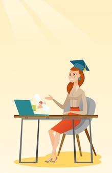 Diplômé obtenant un diplôme de l'ordinateur.