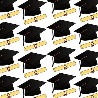 Diplôme parchemin et chapeaux modèle de graduation