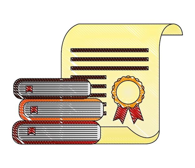 Diplôme de parchemin diplôme avec des livres