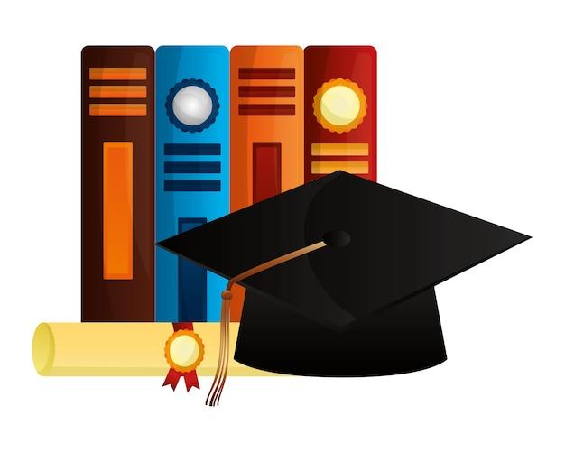 Diplôme de parchemin et remise des diplômes de chapeau avec des livres