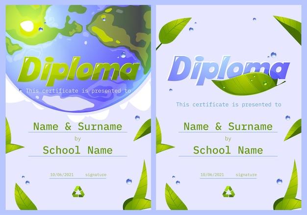 Diplôme scolaire sauver le cadre de certificat de planète