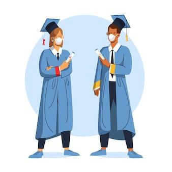 Diplômés portant des masques médicaux
