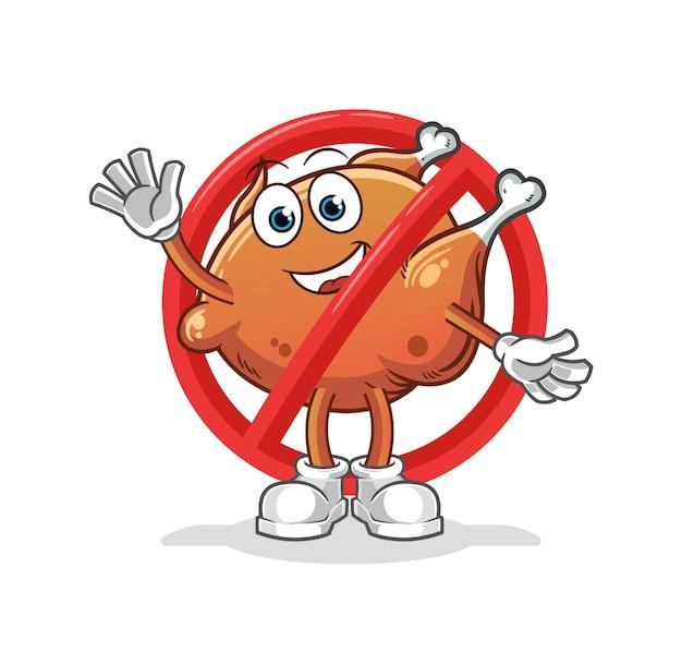 Le dire non à la mascotte de dessin animé de poulet frit
