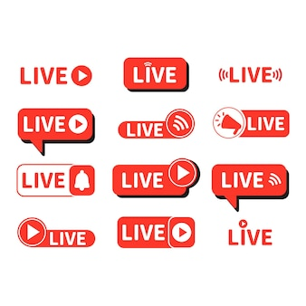 En direct à l'antenne bouton rouge à l'antenne pour afficher le blog vidéo notification contexte des médias sociaux à l'antenne