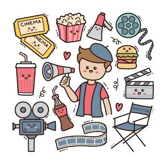 Directeur de dessin animé et éléments de cinéma en illustration de doodle kawaii