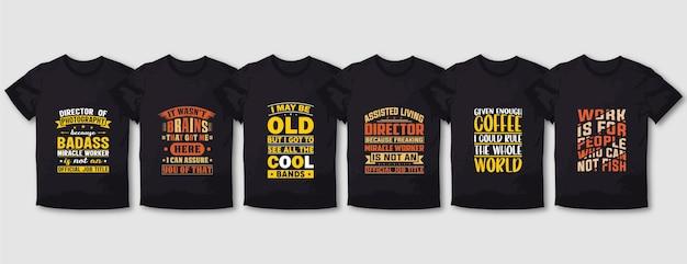 Directeur de la photographie, conception de t-shirts typographie café et travail