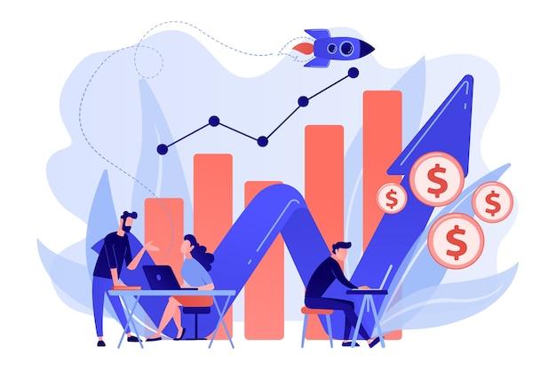 Directeurs des ventes avec ordinateurs portables et diagramme de croissance. croissance des ventes et concept de gestionnaire, comptabilité, promotion des ventes et opérations sur fond blanc.