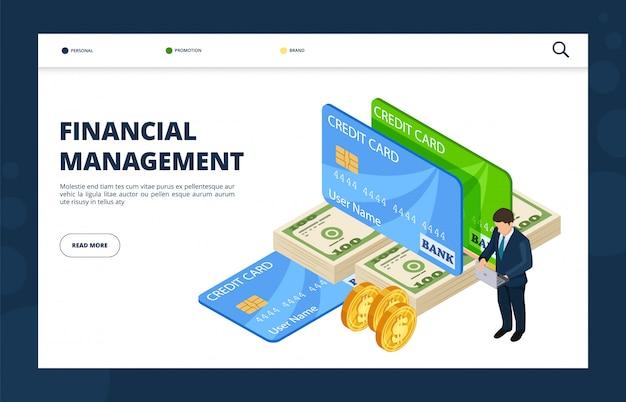 Direction financière. banque en ligne, crédit, modèle de vecteur de page de destination de financement