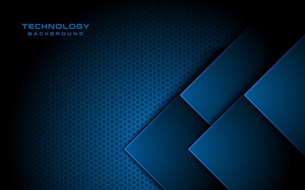 Direction de la flèche 3d de lumière bleue, fond texturé hexagonal,