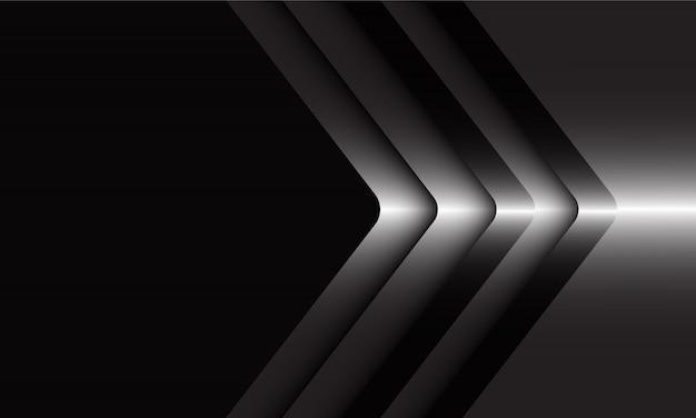 Direction de la flèche argent abstraite sur fond futuriste de luxe moderne noir.