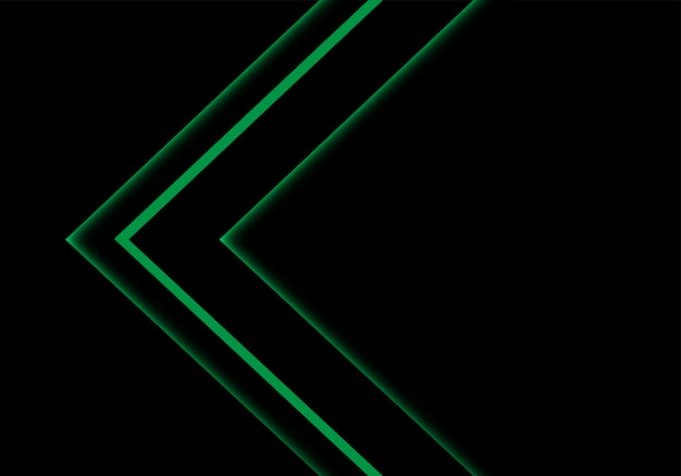 Direction de la flèche au néon feu vert sur fond d'espace vide noir.