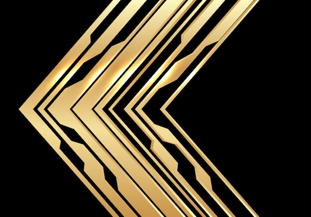 Direction de la flèche de circuit d'or sur fond noir de luxe