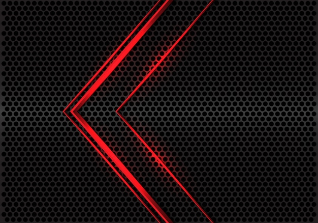 Direction de la flèche ligne rouge abstraite sur cercle métallique gris maille design vecteur de fond futuriste moderne.