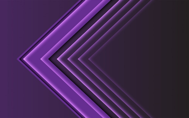 Direction de la flèche de lumière abstraite violet sur fond sombre futuriste moderne.