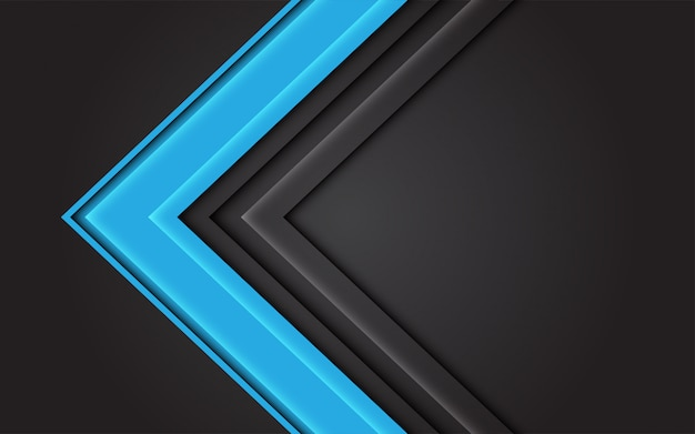 Direction de la flèche de lumière bleue abstraite sur fond futuriste moderne gris foncé.