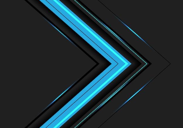 Direction de la flèche de lumière bleue abstraite sur fond gris foncé.