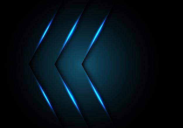 Direction de la flèche de lumière bleue fond noir espace.