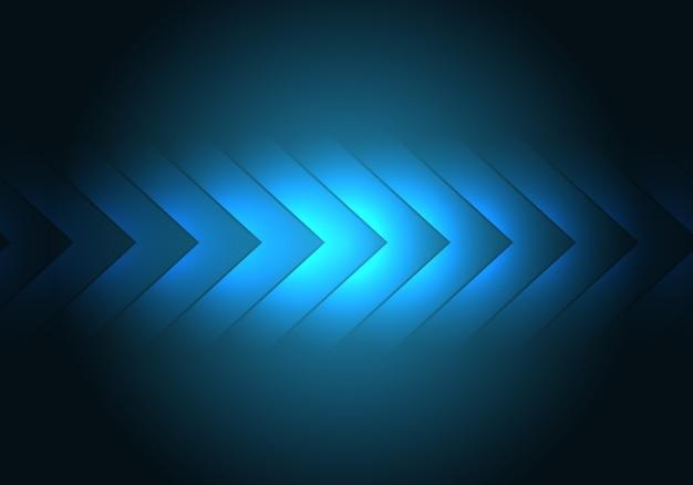Direction de la flèche de lumière bleue, fond de technologie futuriste.