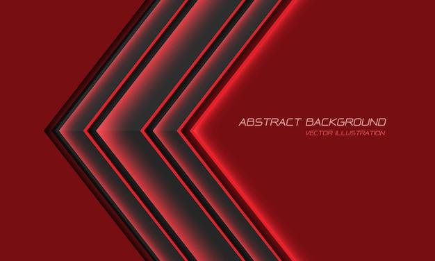 Direction de la flèche de lumière rouge métallique abstrait gris avec illustration de fond futuriste moderne de conception d'espace vide.