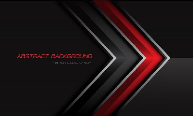Direction de la flèche métallique gris rouge abstrait sur fond futuriste moderne design sombre.