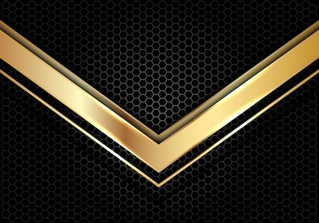 Direction de la flèche d'or sur cercle gris foncé maille fond de luxe.