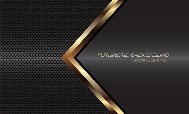 Direction de la ligne noire abstraite flèche dorée sur fond de maille de cercle métallique gris foncé design fond futuriste de luxe moderne