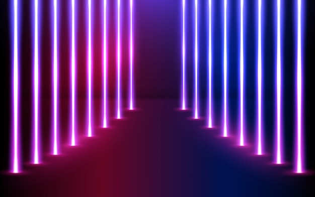 Direction des lignes de néon rougeoyant en perspective.