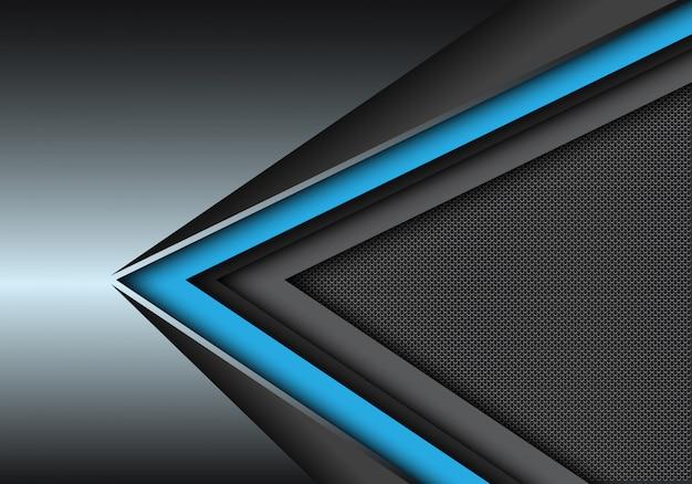 Direction de vitesse noir bleu sur métallique avec fond de maille de cercle.