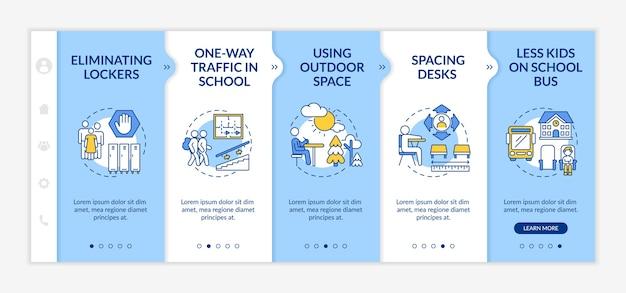 Directives de sécurité de l'école covid sur le modèle d'embarquement. circulation à sens unique. espacement des bureaux.