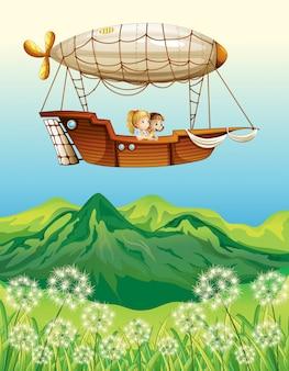 Un dirigeable transportant deux jeunes filles