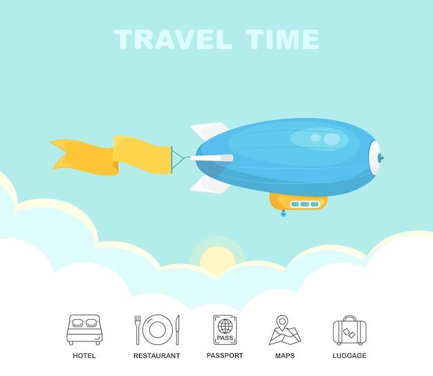 Dirigible volant dans le ciel bleu avec des nuages. dirigeable vintage, zeppelin. voyage en dirigeable