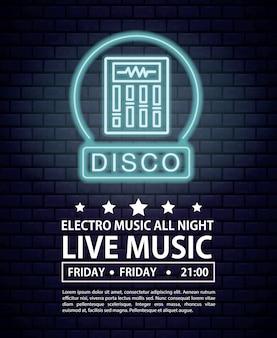 Disco electro musique invitation affiche néons lumières couleurs
