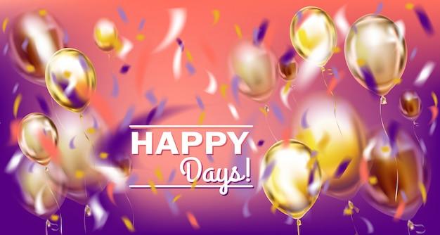 Disco party violet image avec ballons matallic et confettis de feuilles