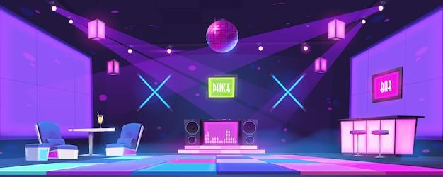 Discothèque avec comptoir de bar, tables, console dj et piste de danse éclairée par une boule disco et des spots. intérieur de dessin animé de vecteur de soirée en club de danse avec scène rougeoyante et lampes au néon