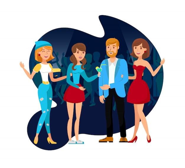 Discothèque party avec collègues illustration plate