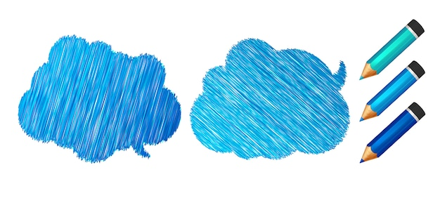 Discours bleu et bulles de pensée dessinées aux crayons