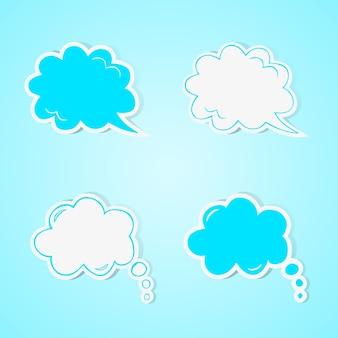 Discours dessiné à la main et jeu de bulles de pensée. illustration vectorielle