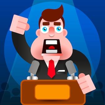 Discours du président avec l'icône du podium