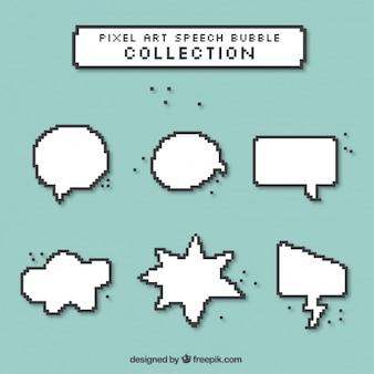 Discours pixélisé bulles dans différentes formes